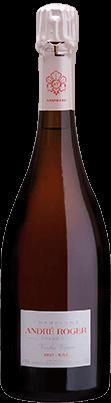 Packshot bouteille vieille vigne Rosé Champagne André Roger